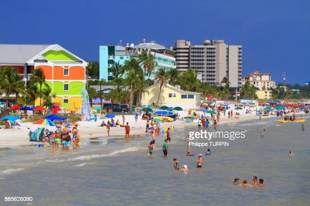 usa, florida, fort myers beach.the beach. - fort myers beach stock photos and pictures