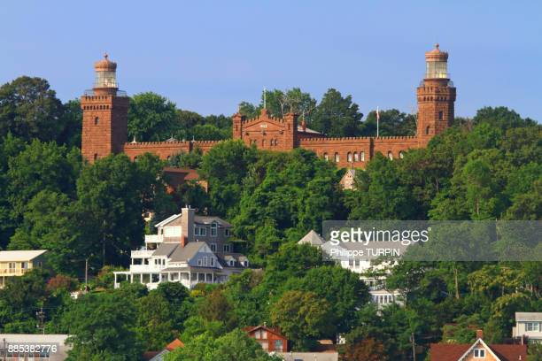 Usa, New Jersey, Monmouth County, Highlands. Twin Lights