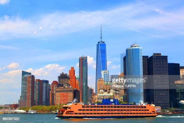 usa, new york, manhattan. one world trade center. staten island ferry - ilha staten - fotografias e filmes do acervo