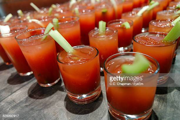 usa, north dakota, fargo, glasses of bloody mary, close-up - bloody mary stock photos and pictures