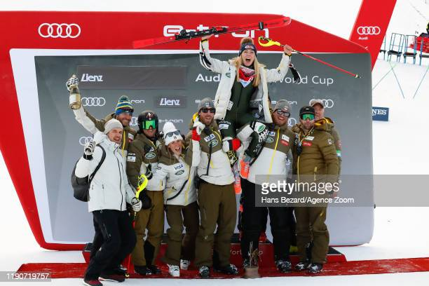Usa Team, Mikaela Shiffrin of USA takes 1st place during the Audi FIS Alpine Ski World Cup Women's Slalom on December 29, 2019 in Lienz Austria.