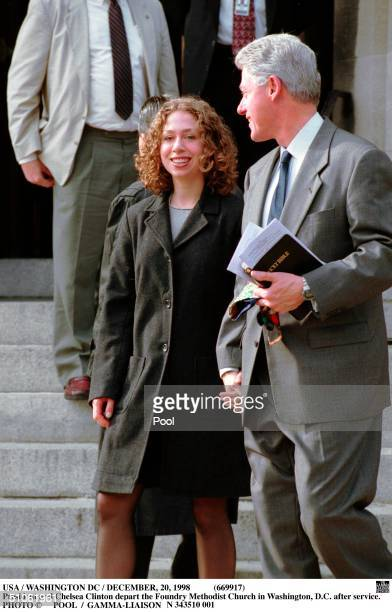 Usa / Washington Dc / December 1998 President And Chelsea Clinton Depart The Foundry Methodist Church In Washington DC After Service On December 20...