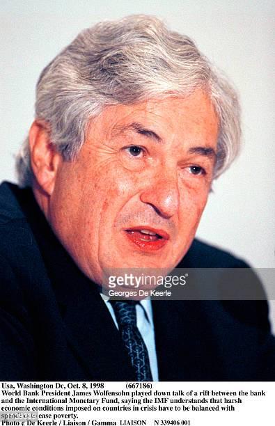 Usa, Washington Dc, Oct. 8, 1998 World Bank President James Wolfensohn played down talk of a rift between the bank and the International Monetary...