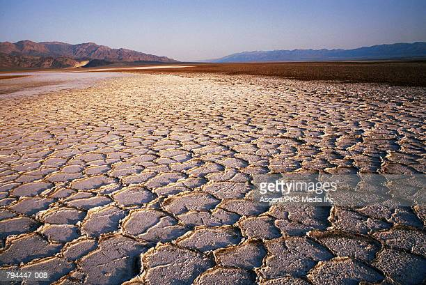USA,California,Death Valley,dried river bed,mountains behind