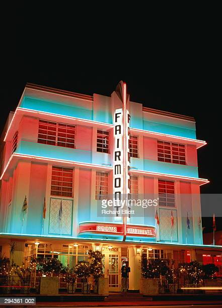 USA,Florida,Miami Beach,Art Deco Hotel illuminated at night