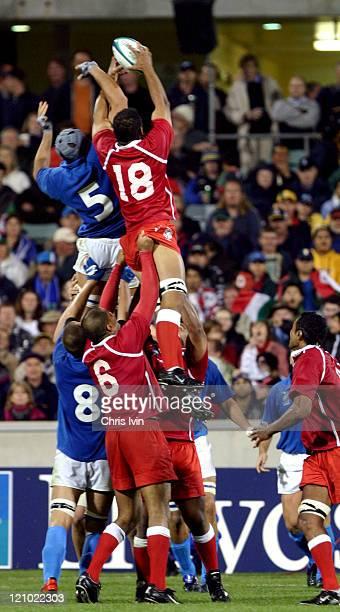 Usaia Latu of Tonga wins a lineout Italy won by 3612