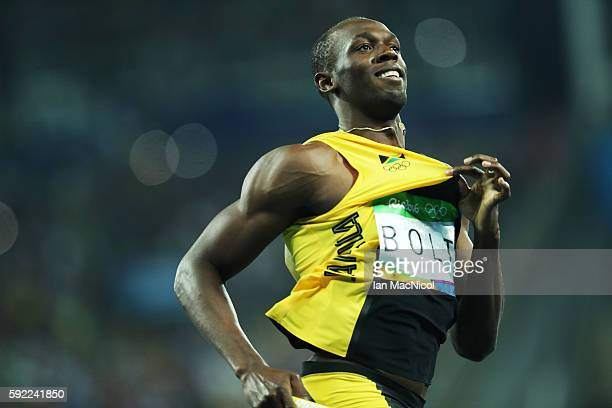 Usain Bolt anchors Jamaica to victory in the Men's 4 x 100m Final on Day 14 of the Rio 2016 Olympic Games at the Olympic Stadium on August 19, 2016...