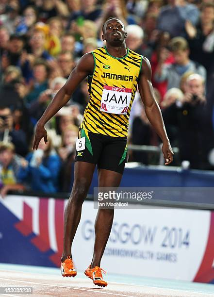 Usain Bolt anchors Jamaica to victory in the Men's 4x100m Relay at Hampden Park during day ten of the Glasgow 2014 Commonwealth Games on August 02...