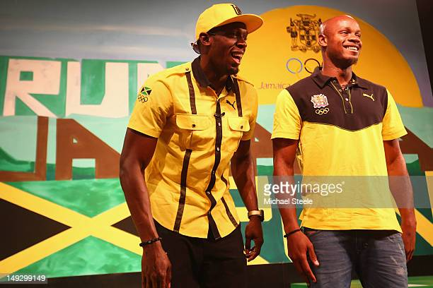 Usain Bolt and Asafa Powell during the Team Jamaica Press Conference at U Block Event Space on July 26 2012 in London England