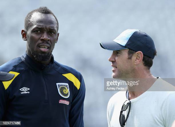 Usain Bolt and Brad Fittler during a Central Coast Mariners training session at Central Coast Stadium on August 28 2018 in Gosford Australia