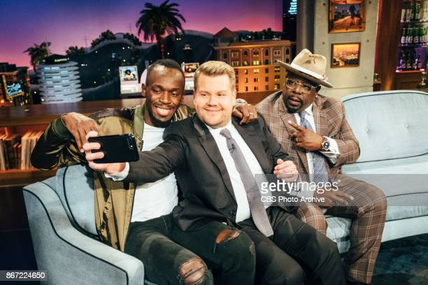 Usain Bolt and Cedric the Entertainer chat with James Corden during 'The Late Late Show with James Corden' Tuesday October 24 2017 On The CBS...
