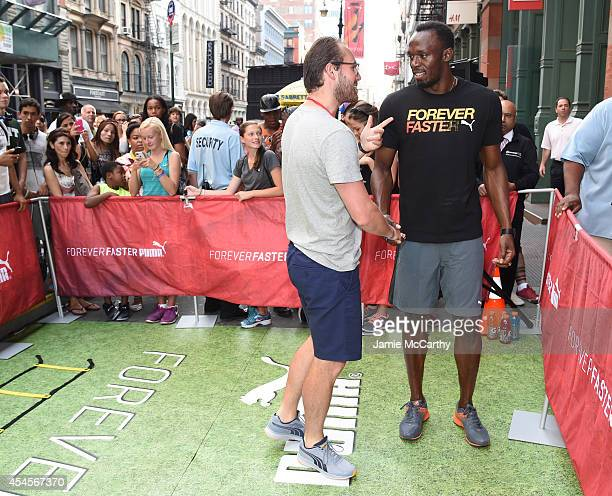 Usain Bolt and guest attend The PUMA Store Soho Training Event on September  3 2014 in a164981c699a