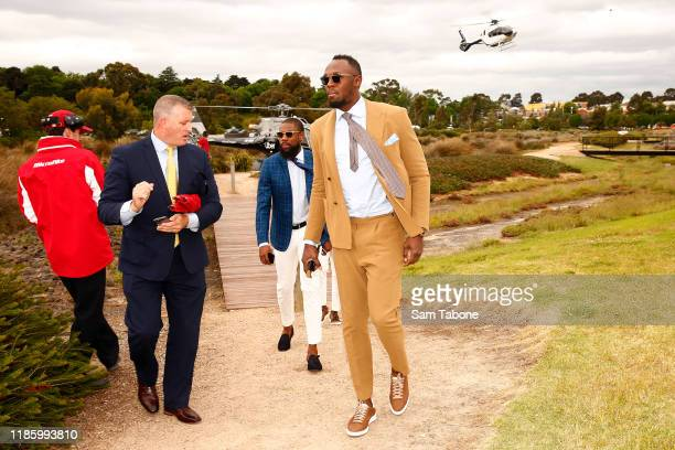 Usain Bolt arrives at Kennedy Oaks Day at Flemington Racecourse on November 07 2019 in Melbourne Australia