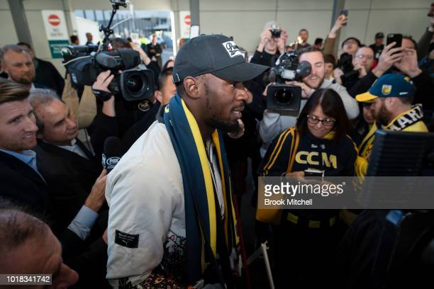 Usain Bolt Arrives at the Sydney International Airport terminal on August 18 2018 in Sydney Australia The eighttime Olympic gold medalist is in...