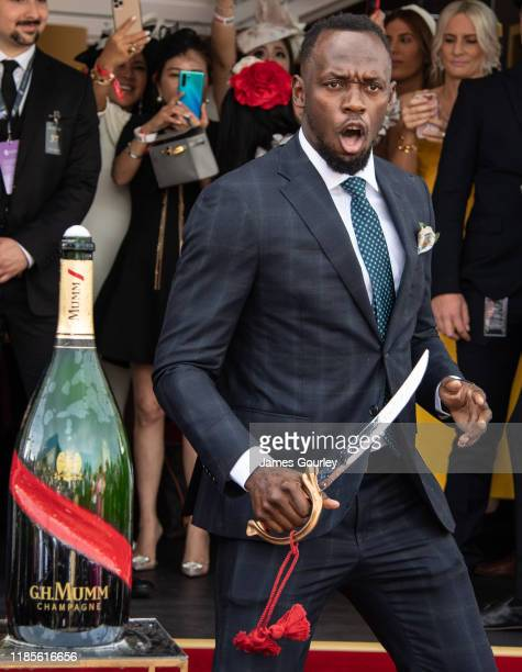 Usain Bolt attending the Mumm Marque on Melbourne Cup Day at Flemington Racecourse on November 05 2019 in Melbourne Australia