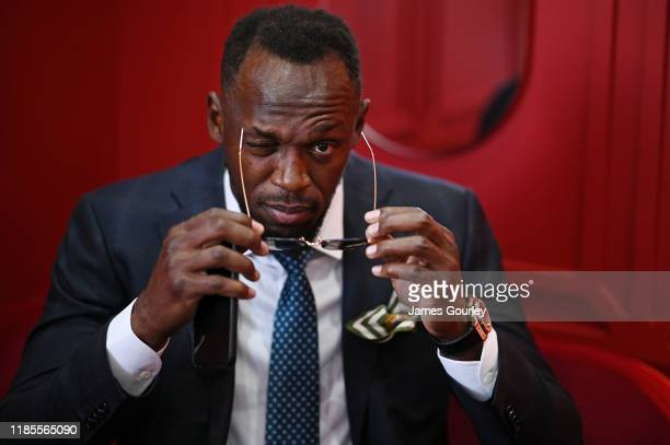 Usain Bolt attends Melbourne Cup Day at Flemington Racecourse on November 05 2019 in Melbourne Australia