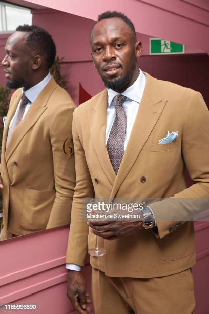 Usain Bolt attends Oaks Day at Flemington Racecourse on November 07 2019 in Melbourne Australia