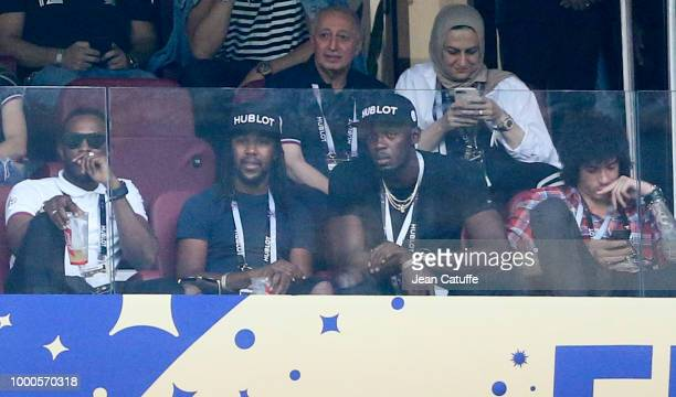 Usain Bolt attends the 2018 FIFA World Cup Russia Final match between France and Croatia at Luzhniki Stadium on July 15 2018 in Moscow Russia