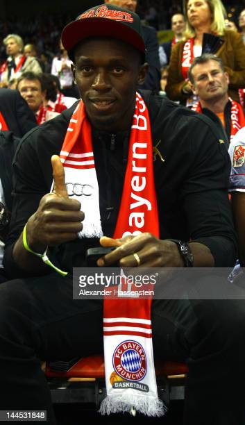 Usain Bolt attends the Game 4 of the BEKO BBL Quaterfinals between FC Bayern Muenchen and Artland Dragons at AudiDome on May 5 2012 in Munich Germany