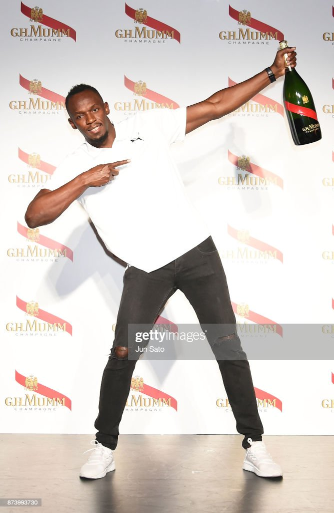 Usain Bolt attends the G.H. Mumm Champagne promotion at Nicoffare on November 14, 2017 in Tokyo, Japan.