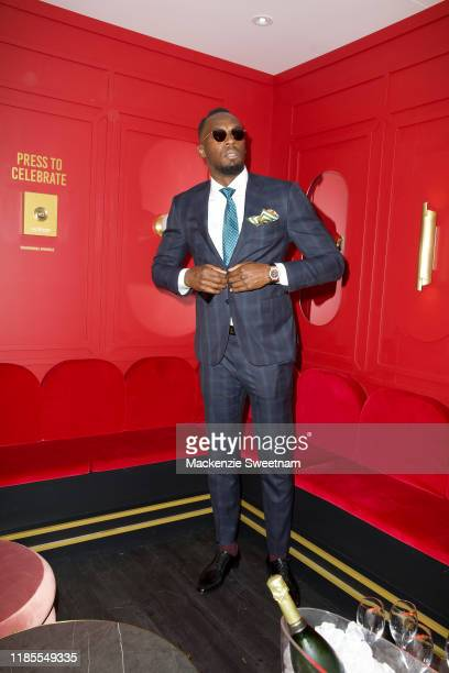 Usain Bolt attends the Mumm marquee on Melbourne Cup Day at Flemington Racecourse on November 05, 2019 in Melbourne, Australia.