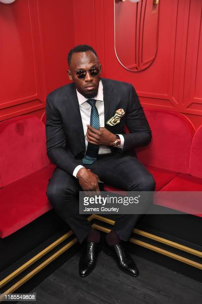 Usain Bolt attends the Mumm marquee on Melbourne Cup Day at Flemington Racecourse on November 05 2019 in Melbourne Australia