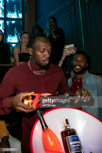 Usain Bolt attends Quavo Huncho And Usain Bolt Joined Forces Ahead Of The Big Game at Mr Jones on January 31 2020 in Miami Florida