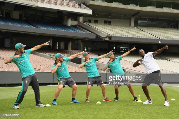 Usain Bolt coaches Australian cricketers Glenn Maxwell Ashton Agar Peter Handscomb and Aaron Finch during the Gatorade Fastest Run at the Melbourne...