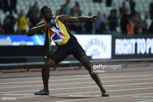 Usain Bolt during 100 meter final at London Stadium in London on August 5 2017 at the 2017 IAAF World Championships athletics