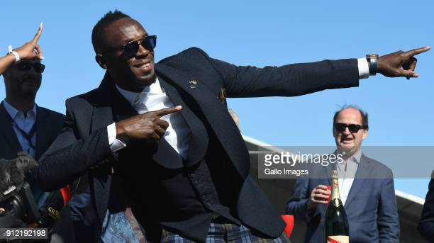 Usain Bolt during the 2018 Sun Met at Kenilworth Racecourse on January 27 2018 in Cape Town South Africa The 134th edition of the Sun Met brings...