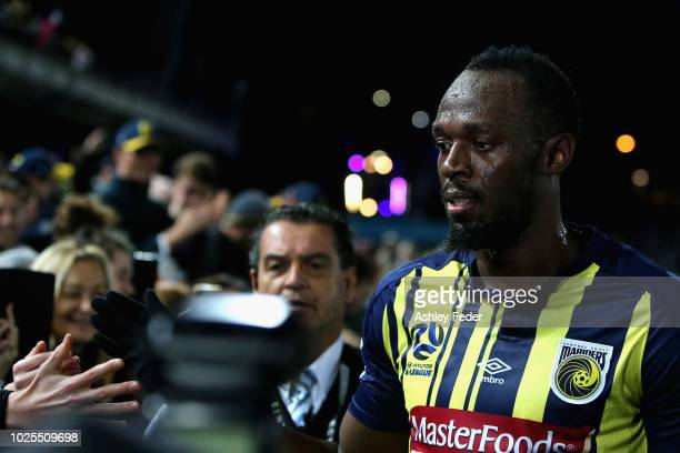 Usain Bolt during the preseason match between the Central Coast Mariners and Central Coast Football at Central Coast Stadium on August 31 2018 in...