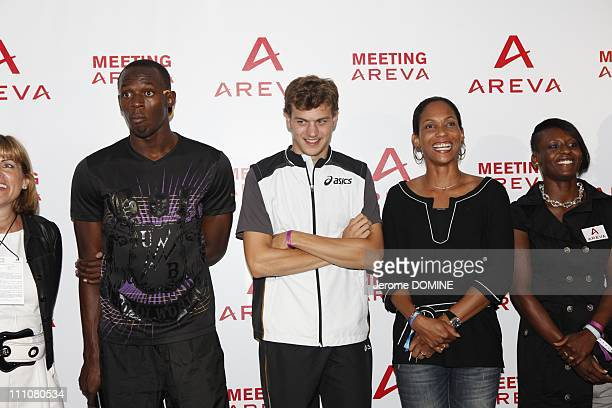 Usain Bolt in Paris France on July 16th 2010 Areva Meeting at the Stade de France in the evening Anne Lauvergeon Usain Bolt Christophe Lemaitre and...