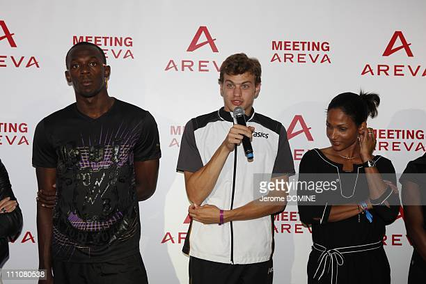 Usain Bolt in Paris France on July 16th 2010 Areva Meeting at the Stade de France in the evening Usain Bolt Christophe Lemaitre and Christine Arron