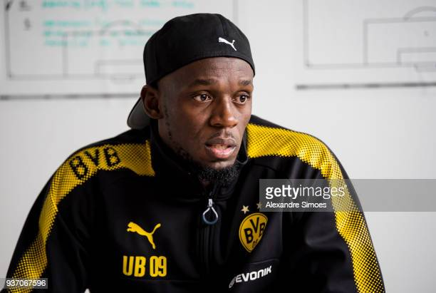 Usain Bolt is giving interviews at Borussia Dortmund's training ground on March 23 2018 in Dortmund Germany
