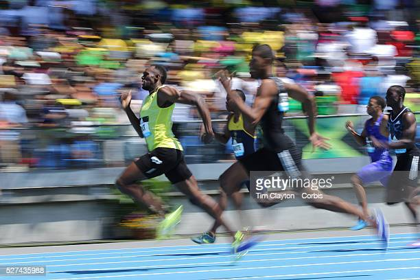 Usain Bolt Jamaica wins the Men's 200m from Zharnel Hughes during the Diamond League Adidas Grand Prix at Icahn Stadium Randall's Island Manhattan...