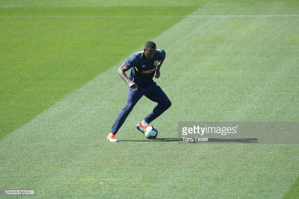 Usain Bolt kicks the ball during Usain Bolt's first training session with the Central Coast Mariners ALeague squad at Central Coast Stadium on August...