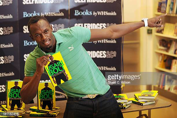 Usain Bolt meets fans and signs copies of his autobiography Faster Than Lightning at Selfridges on September 19 2013 in London England