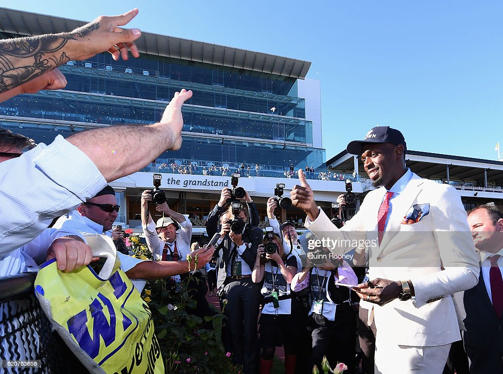 Usain Bolt meets fans in the mounting yard on Oaks Day at Flemington Racecourse on November 3, 2016 in Melbourne, Australia.