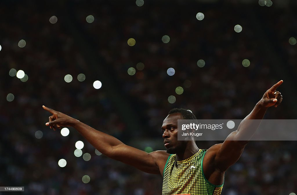 Usain Bolt of Jamaica acknowledges the crowd ahead of the Men's 100m A race on day one during the Sainsbury's Anniversary Games - IAAF Diamond League 2013 at The Queen Elizabeth Olympic Park on July 26, 2013 in London, England.