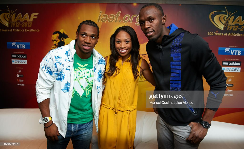 Usain Bolt (R) of Jamaica, Allyson Felix of the United States and Yohan Blake of Jamaica pose during the the preview day of the IAAF Athlete of the Year Award at the IAAF Centenary Gala on November 23, 2012 in Barcelona, Spain.