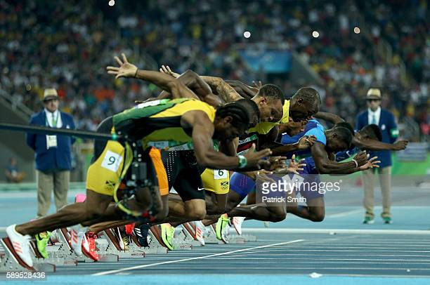 Usain Bolt of Jamaica and others take off from the starting block in the Men's 100 meter final on Day 9 of the Rio 2016 Olympic Games at the Olympic...