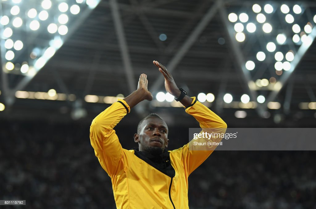 Usain Bolt of Jamaica bids farewell after his last World Athletics Championships during day ten of the 16th IAAF World Athletics Championships London 2017 at The London Stadium on August 13, 2017 in London, United Kingdom.