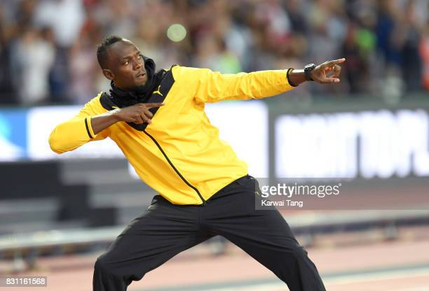 Usain Bolt of Jamaica bids farewell after his last World Athletics Championships during day ten of the 16th IAAF World Athletics Championships at the...