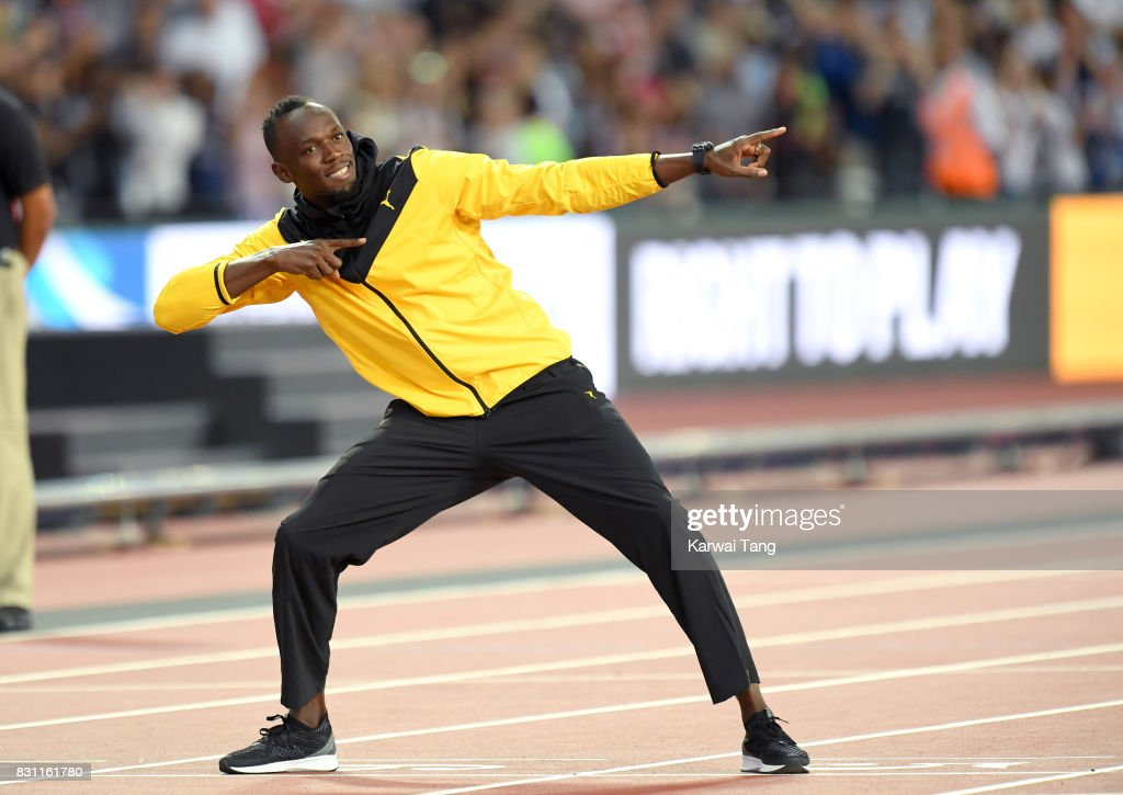 Usain Bolt of Jamaica bids farewell after his last World Athletics Championships during day ten of the 16th IAAF World Athletics Championships at the London Stadium on August 13, 2017 in London, United Kingdom.