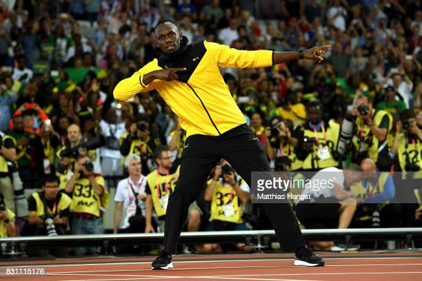 Usain Bolt of Jamaica bids farewell to fans after his last World Athletics Championships during day ten of the 16th IAAF World Athletics...