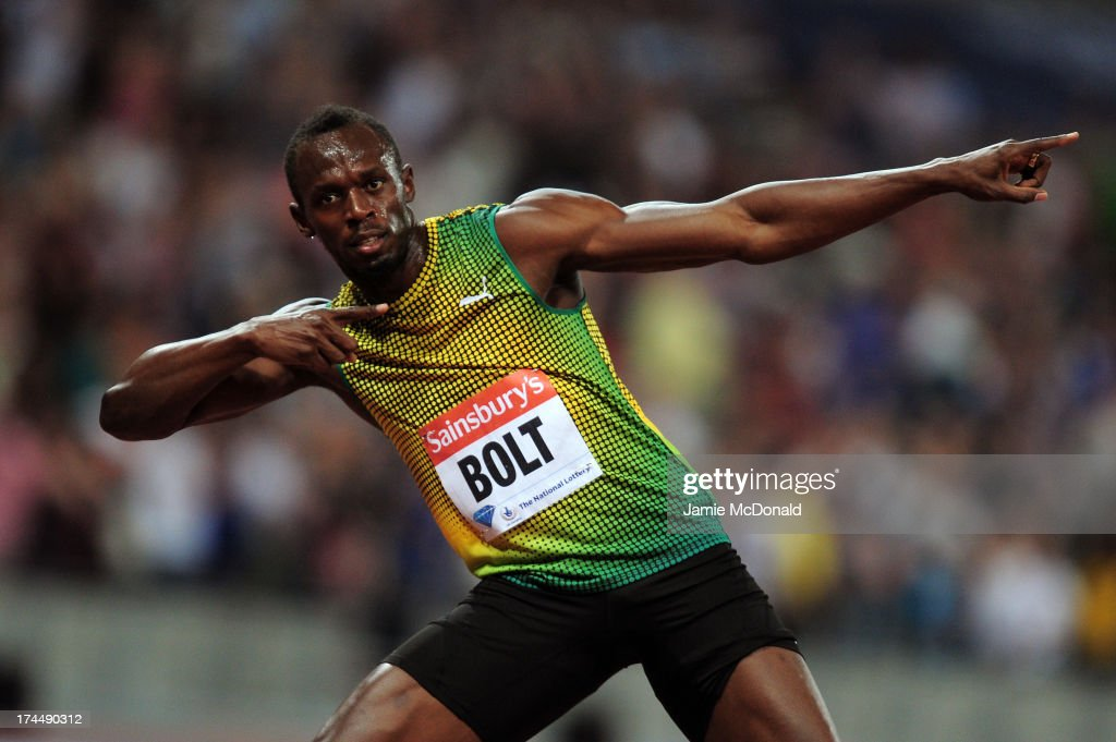 Usain Bolt of Jamaica celebrates after crossing the line first in the Men's 100m A race on day one during the Sainsbury's Anniversary Games - IAAF Diamond League 2013 at The Queen Elizabeth Olympic Park on July 26, 2013 in London, England.