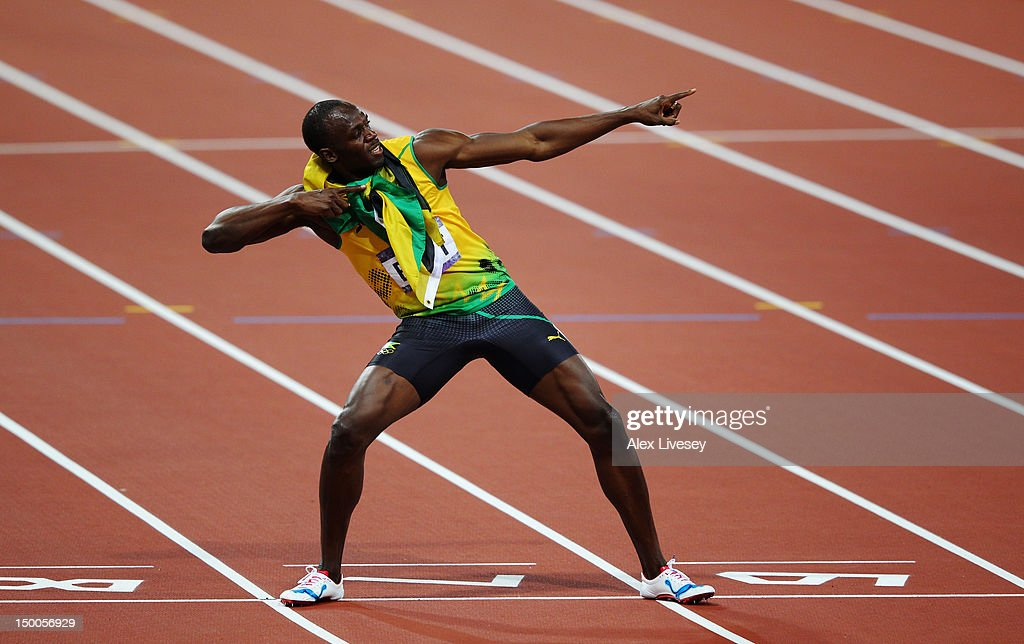 Usain Bolt of Jamaica celebrates after winning gold in the Men's 200m Final on Day 13 of the London 2012 Olympic Games at Olympic Stadium on August 9, 2012 in London, England.