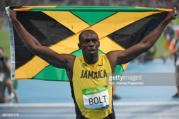 Usain Bolt of Jamaica celebrates after winning the Mens 200m final on Day 13 of the Rio 2016 Olympic Games at the Olympic Stadium on August 18 2016...