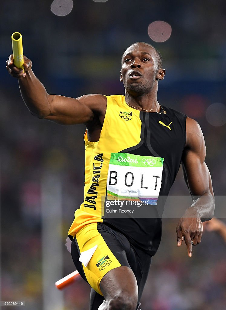 Usain Bolt of Jamaica celebrates after winning the Men's 4 x 100m Relay Final on Day 14 of the Rio 2016 Olympic Games at the Olympic Stadium on August 19, 2016 in Rio de Janeiro, Brazil.