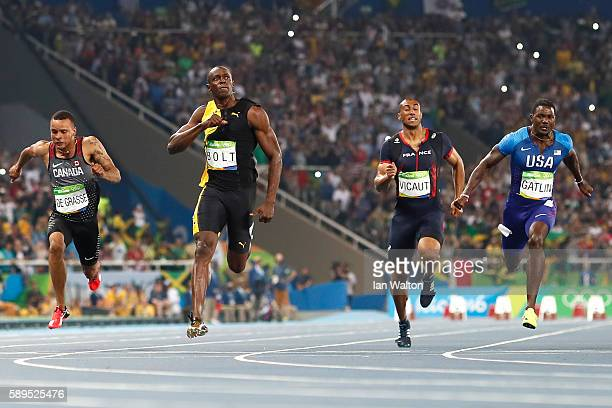 Usain Bolt of Jamaica celebrates as he wins the Mens 100m final ahead of Justin Gatlin of the United States on Day 9 of the Rio 2016 Olympic Games at...